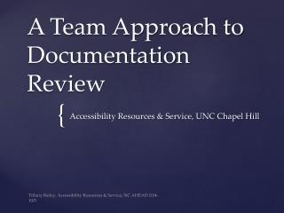 A Team Approach to Documentation Review