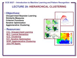 LECTURE  29:  HIERARCHICAL CLUSTERING