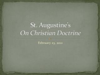 St. Augustine's On Christian Doctrine