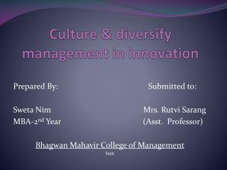 Culture & diversify management in innovation
