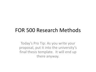 FOR 500 Research Methods