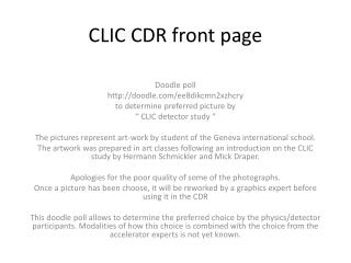 CLIC CDR front page