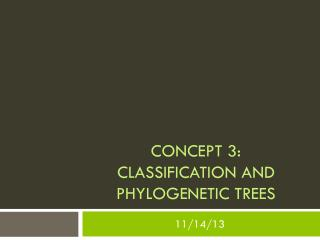 Concept 3:  Classification and phylogenetic trees