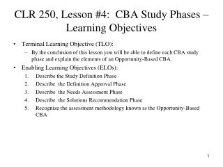 CLR 250, Lesson #4:  CBA Study Phases – Learning Objectives