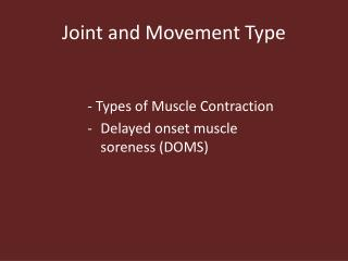 Joint and Movement Type