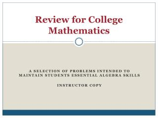 Review for College Mathematics