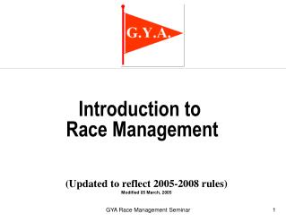 Introduction to  Race Management