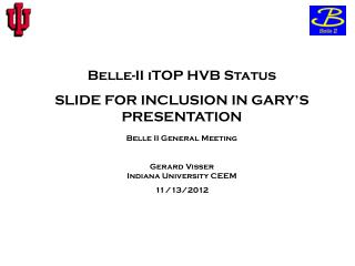 Belle-II  iTOP  HVB Status SLIDE FOR INCLUSION IN GARY'S PRESENTATION