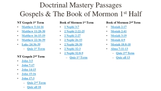 Doctrinal Mastery Passages Gospels & The Book of Mormon 1 st Half