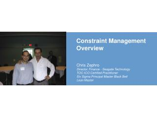 Constraint Management  Overview