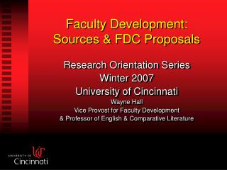 Faculty Development: Sources & FDC Proposals