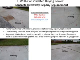 LLWHA Consolidated Buying Power:   Concrete Driveway Repair/Replacement