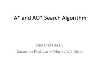 A* and AO*  Search Algorithm
