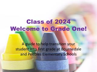 Class of 2024 Welcome to Grade One!