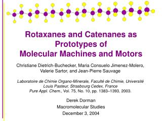 Rotaxanes and Catenanes as Prototypes of Molecular Machines and Motors