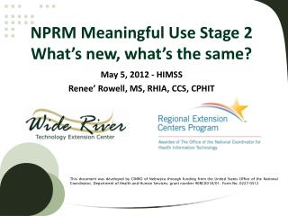 NPRM Meaningful Use Stage 2  What's new, what's the same?