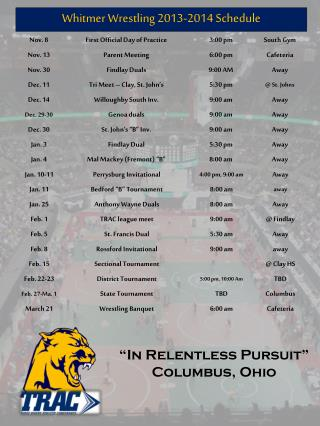 Whitmer  Wrestling 2013-2014 Schedule
