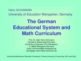 The German            Educational System and Math Curriculum
