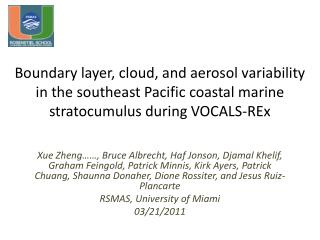 Scientific objectives: Characterize variations of the coastal BL, clouds, and aerosols