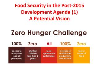 Food Security in the Post-2015 Development Agenda (1) A Potential Vision