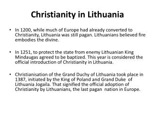 Christianity  in  Lithuania
