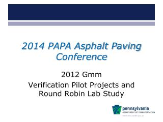 2014 PAPA Asphalt Paving Conference
