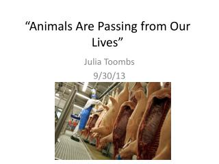 """Animals Are Passing from Our Lives"""