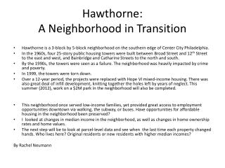 Hawthorne:  A Neighborhood in Transition
