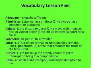 Vocabulary Lesson Five