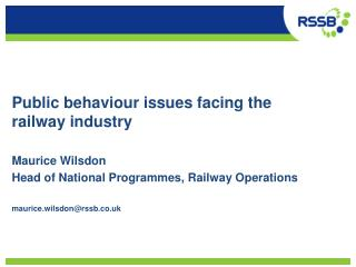 Public behaviour issues facing the railway industry