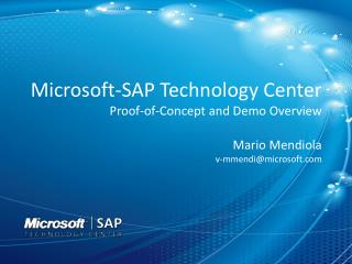 Microsoft-SAP Technology Center Proof-of-Concept and Demo Overview