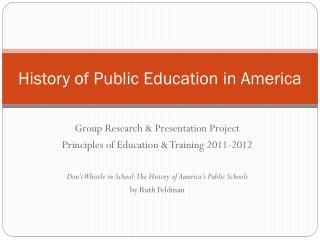 History of Public Education in America