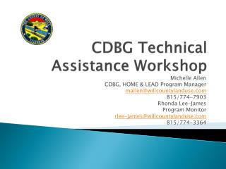 CDBG Technical Assistance Workshop