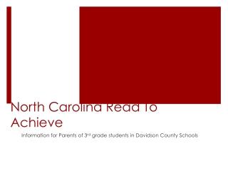 Reading Diagnostic Assessments in North Carolina