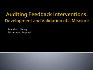 Auditing Feedback Interventions:  Development and Validation of a Measure