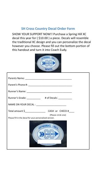SH Cross Country Decal Order Form