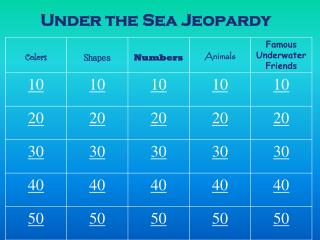 Under the Sea Jeopardy