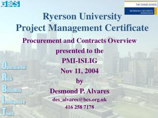 Ryerson University Project Management Certificate