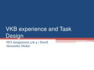 VKB experience and Task Design