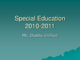 Special Education 2010-2011