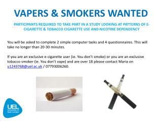 VAPERS & SMOKERS WANTED