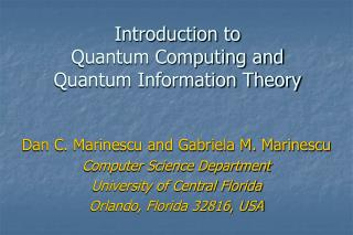 Introduction to  Quantum Computing and Quantum Information Theory
