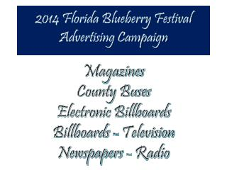 2014 Florida Blueberry Festival Advertising Campaign