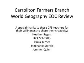 Carrollton Farmers Branch World Geography EOC Review