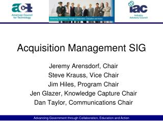 Acquisition Management SIG
