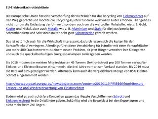Elektroschrott - EU-Elektronikschrottrichtlinie