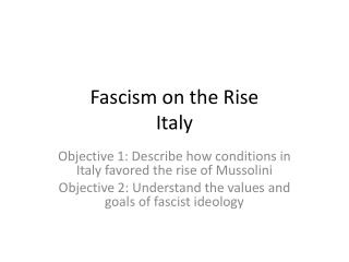 Fascism on the Rise Italy
