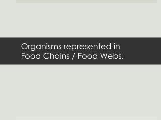 Organisms represented in Food Chains / Food Webs.