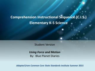 Adapted from Common Core State Standards Institute Summer 2013