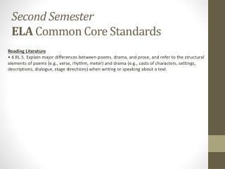 Second Semester ELA Common Core Standards